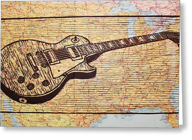 Les Paul On Usa Map Greeting Card