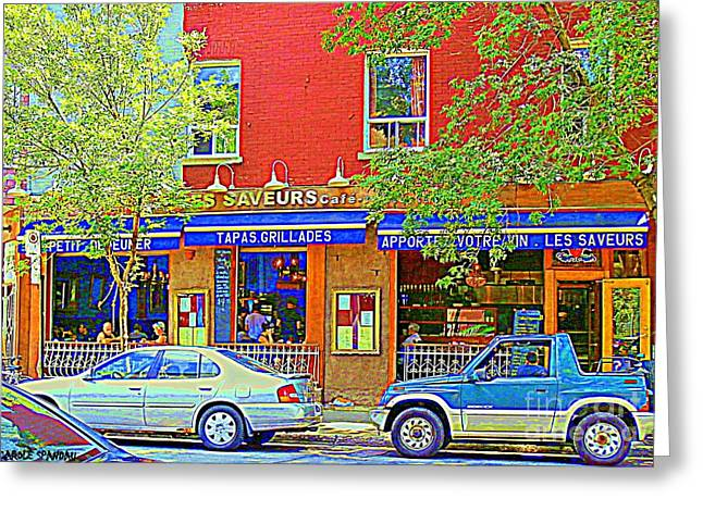 Les Saveurs Tapas Grillades Apportez Votre Vin Montreal Cafe Art Scene By Carole Spandau Greeting Card by Carole Spandau