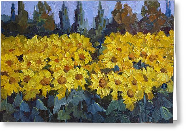 Cedar Tree Greeting Cards - Les Valayans Sunflowers Greeting Card by Diane McClary