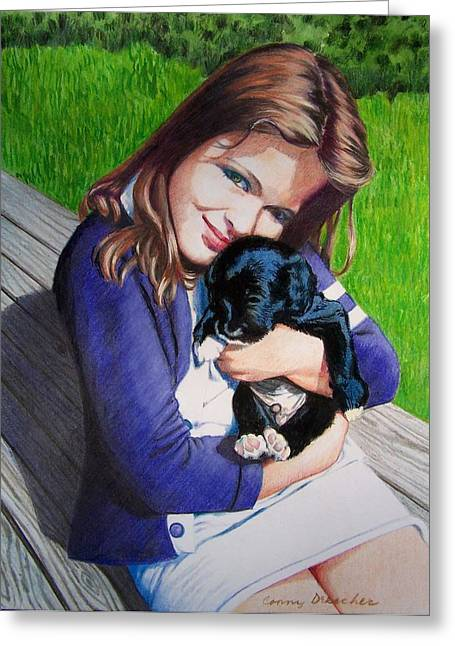 Greeting Card featuring the mixed media Leslie And Sergeant by Constance Drescher