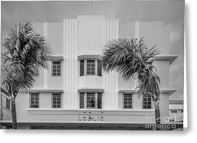 Leslie Hotel South Beach Miami Art Deco Detail 3 - Black And White Greeting Card by Ian Monk