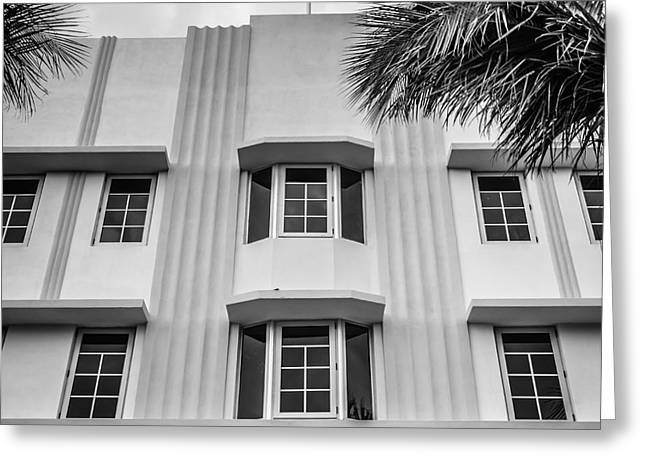 Leslie Hotel South Beach Miami Art Deco Detail - Square - Black And White Greeting Card by Ian Monk