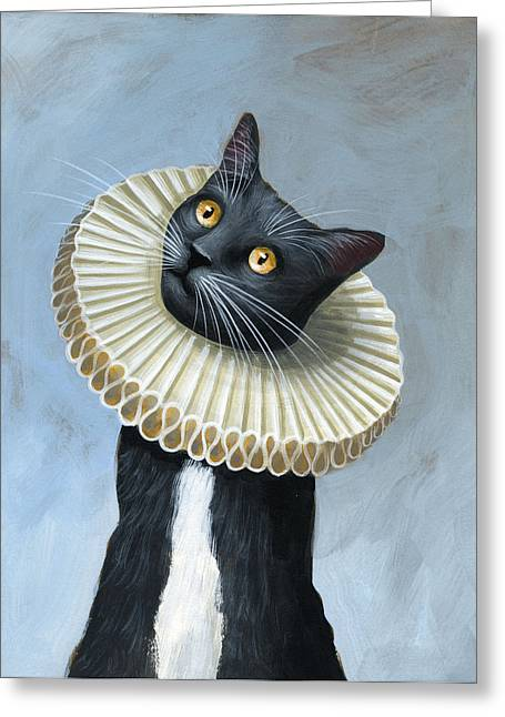 Less Is More ... Tuxedo Cat Art Painting Greeting Card by Amy Giacomelli