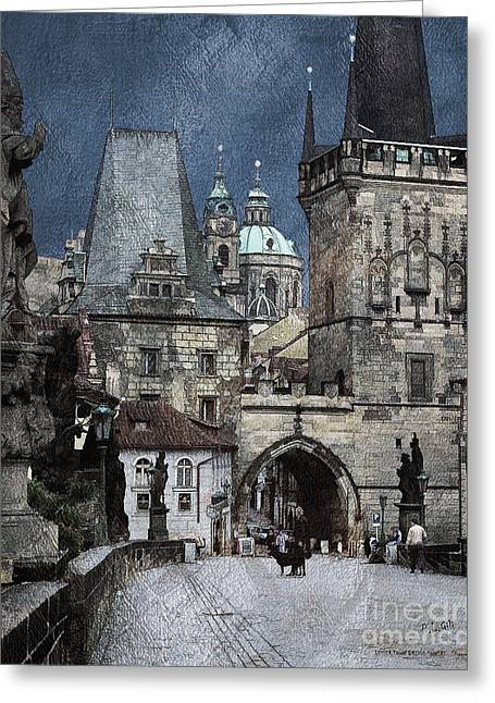 Lesser Town Bridge Towers Greeting Card