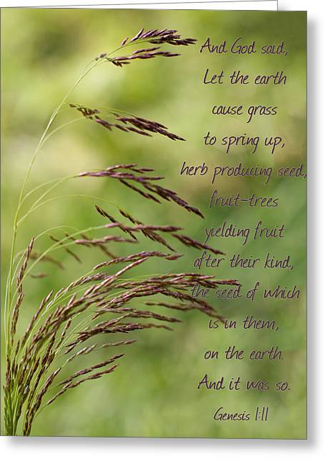 Let The Earth Bring Forth Grass Genesis Greeting Card