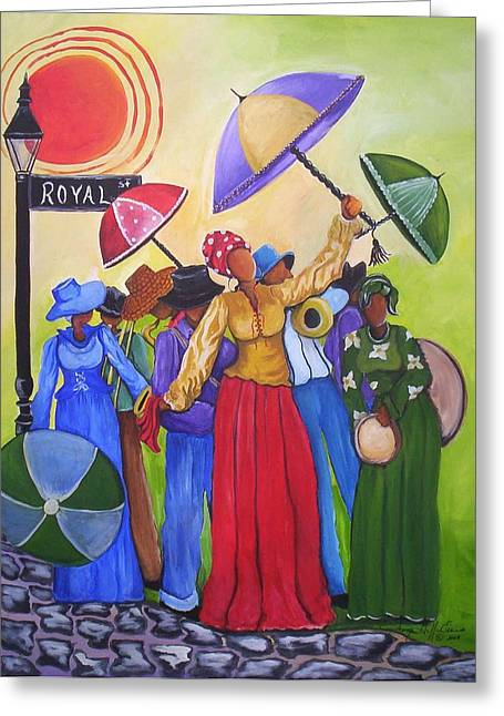 Let The Good Times Roll Greeting Card by Sonja Griffin Evans