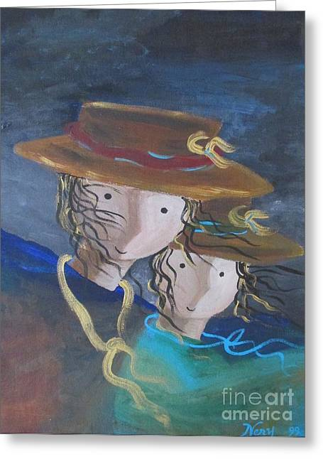 Greeting Card featuring the painting Let The Wind Blow by Nereida Rodriguez