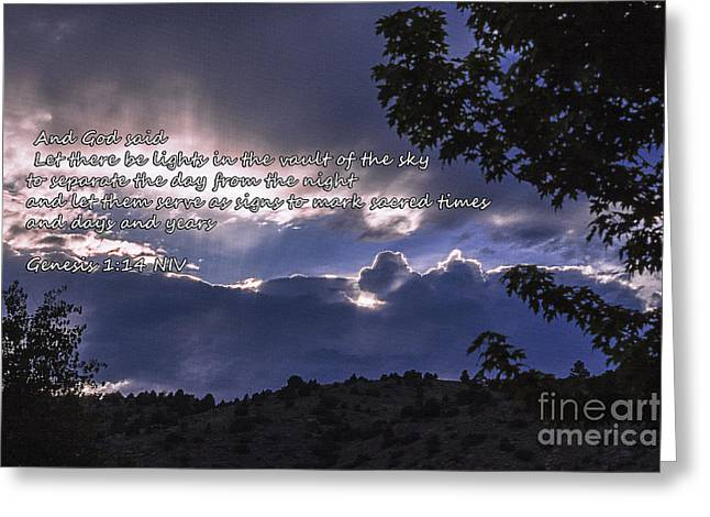 Let There Be Light Greeting Card by Janice Rae Pariza