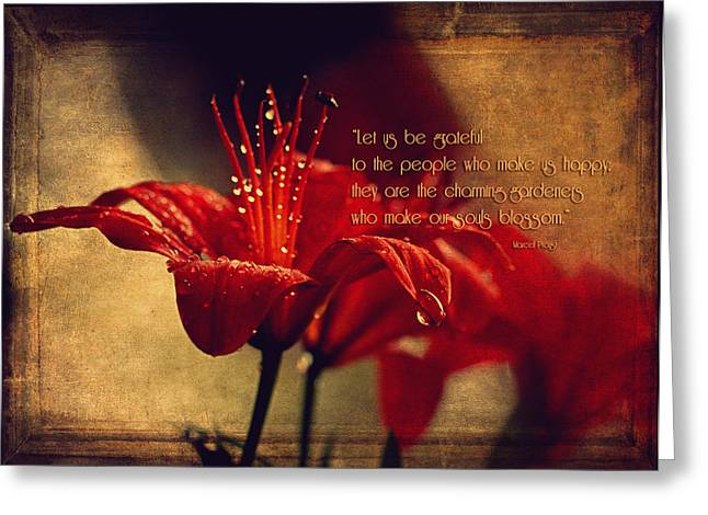 Let Us Be Grateful... Greeting Card by Maria Angelica Maira