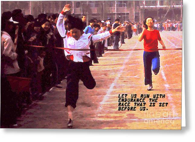 Let Us Run With Endurance Greeting Card by Lydia Holly