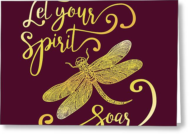 Let Your Spirit Soar. Hand Drawn Greeting Card by Trigubova Irina