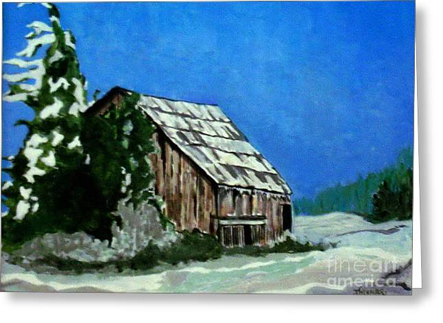 Greeting Card featuring the painting L'etable  The Barn by Joyce Gebauer