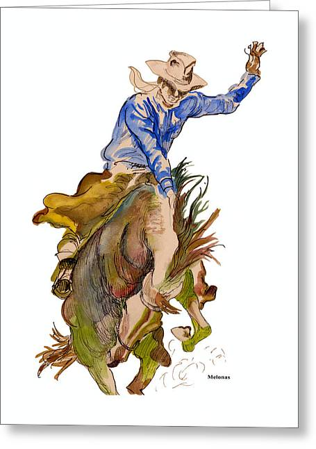 Let'er Buck Greeting Card by Peter Melonas