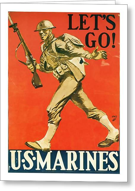 Lets Go - World War 2 Art Greeting Card by Presented By American Classic Art