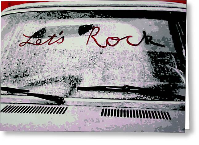 Greeting Card featuring the painting Lets Rock by Luis Ludzska