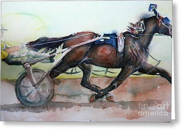 Racehorse Painting In Watercolor Let's Roll Greeting Card