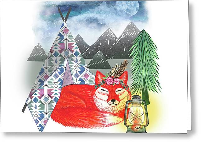 Lets Sleep Under The Stars Fox And Teepee Design.jpg Greeting Card