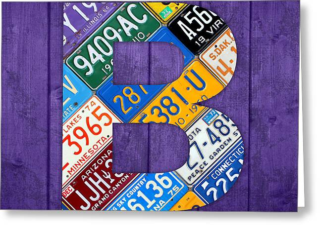 Letter B Alphabet Vintage License Plate Art Greeting Card