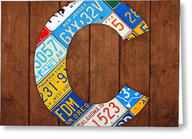 Letter C Alphabet Vintage License Plate Art Greeting Card