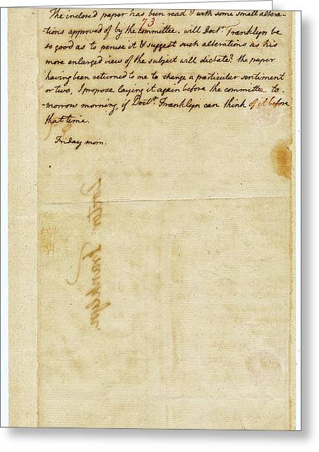 Letter From Jefferson To Franklin Greeting Card by American Philosophical Society