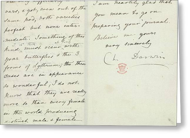 Letter Of Charles Darwin Greeting Card