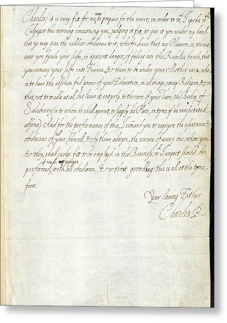 Letter Of Charles I Greeting Card
