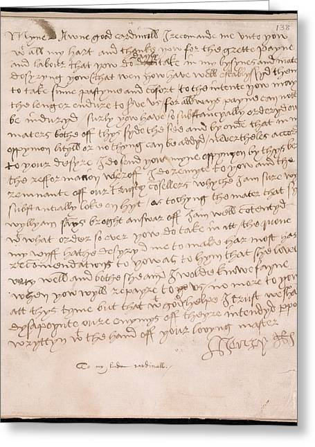 Letter Of Henry Viii Greeting Card