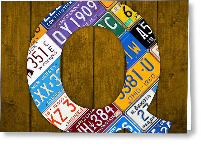 Letter Q Alphabet Vintage License Plate Art Greeting Card