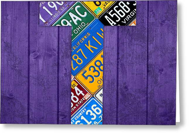 Letter T Alphabet Vintage License Plate Art Greeting Card