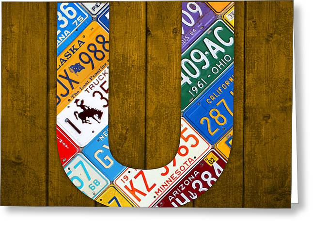 Letter U Alphabet Vintage License Plate Art Greeting Card