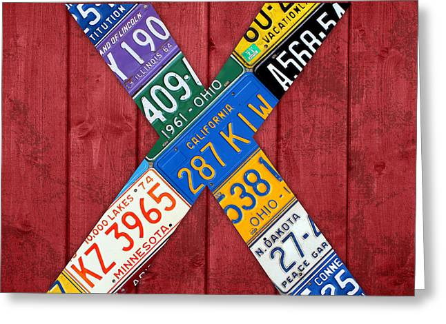 Letter X Alphabet Vintage License Plate Art Greeting Card by Design Turnpike