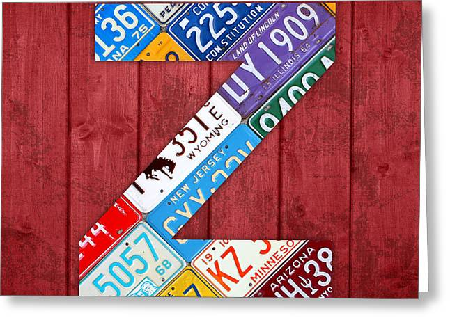 Letter Z Alphabet Vintage License Plate Art Greeting Card by Design Turnpike