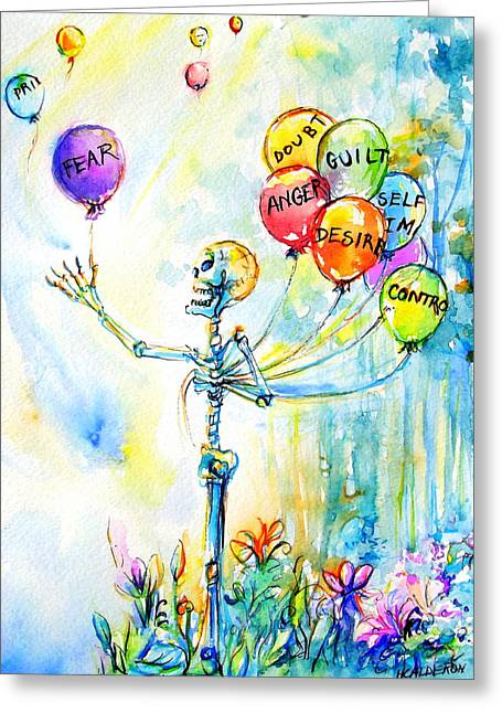 Letting Go Greeting Card by Heather Calderon