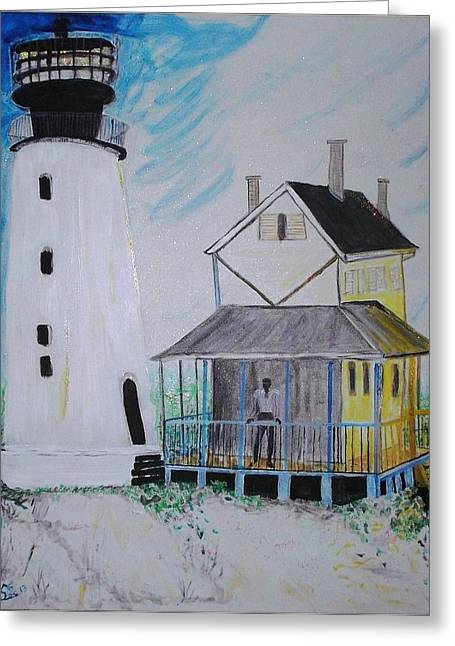 Lewes 1926 Lighthouse Greeting Card by Leslie Byrne