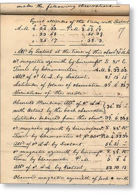 Lewis And Clark Expedition Diary Greeting Card by American Philosophical Society