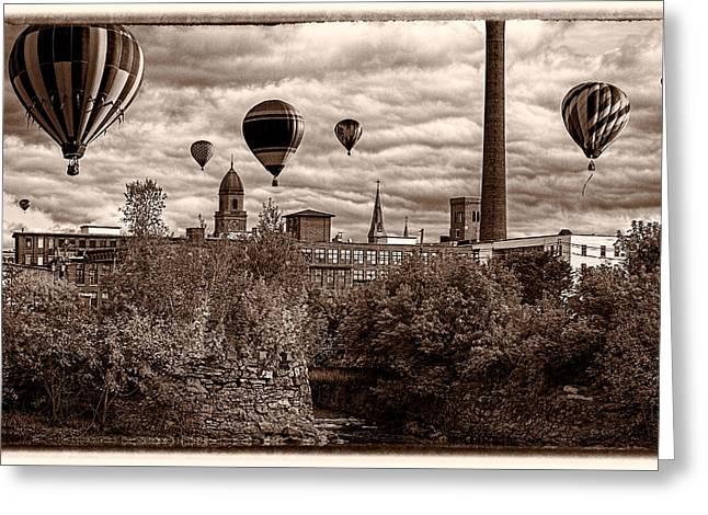 Lewiston Maine Hot Air Balloons Greeting Card by Bob Orsillo