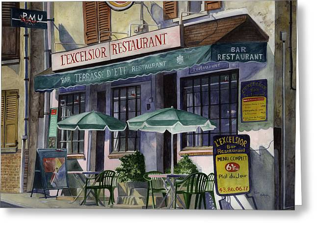 L'excelsior Cafe Greeting Card by Terri  Meyer