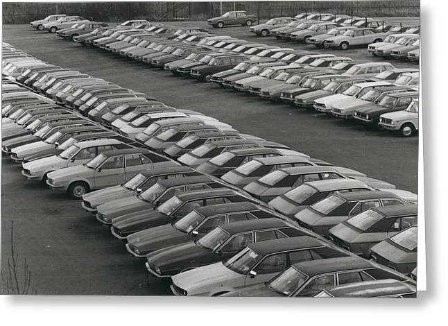 Leyland Cars Stockpiled As Sales Slump Greeting Card by Retro Images Archive