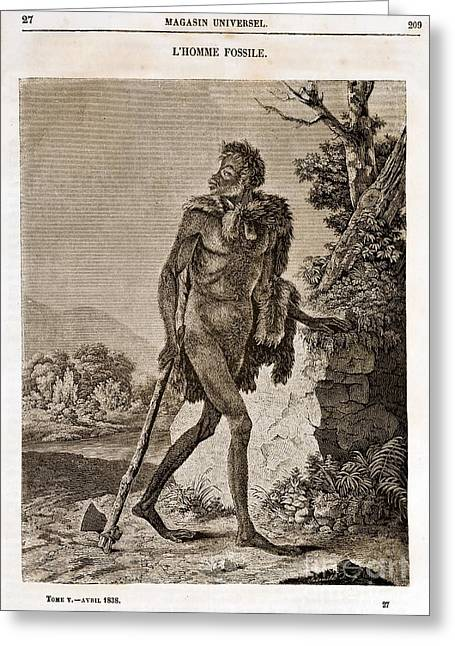Lhomme Fossile, Cave Man, 1838 Greeting Card by Paul D. Stewart