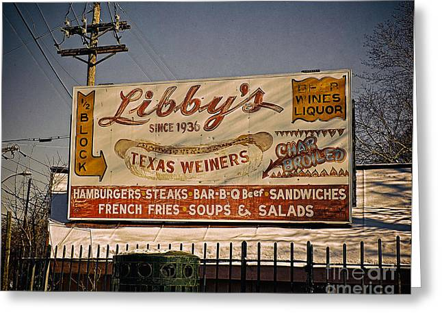Libbys Lunch Sign Greeting Card by Mark Miller