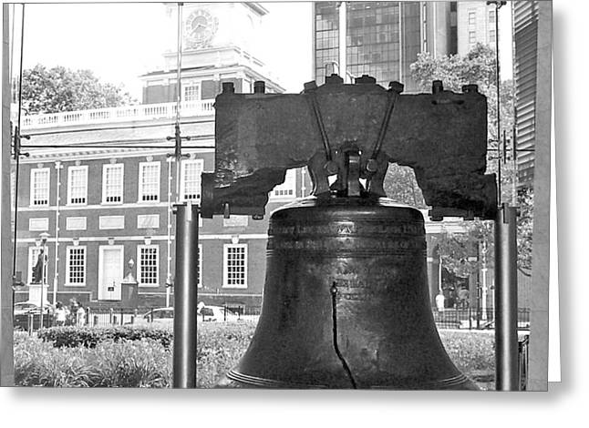 Liberty Bell And Independence Hall Bw Greeting Card