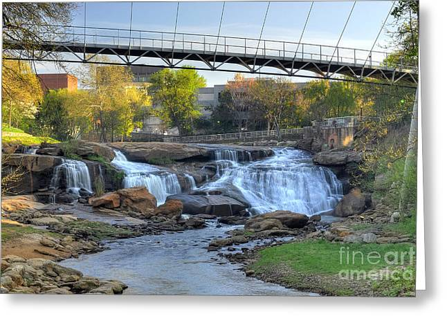 Liberty Bridge And The Falls In Downtown Greenville Sc Greeting Card