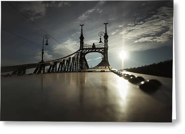 Liberty Bridge Budapest Greeting Card by Chris Fletcher