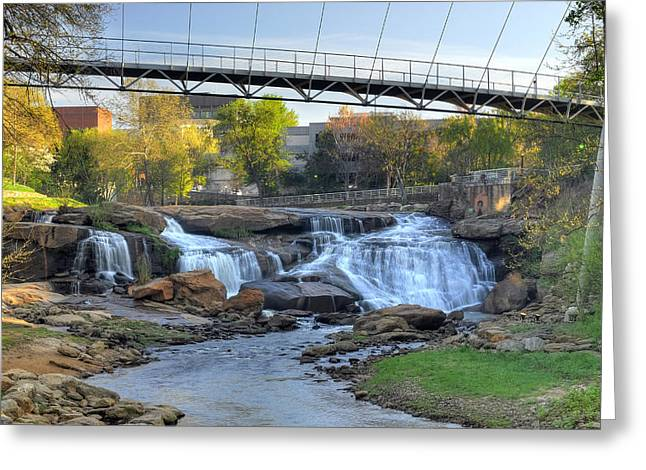 Liberty Bridge In Downtown Greenville Sc  Falls Park Greeting Card