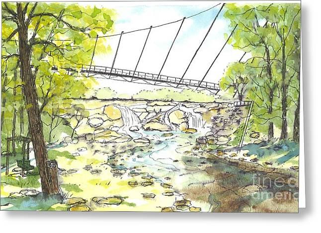 Liberty Bridge With Swing Greeting Card
