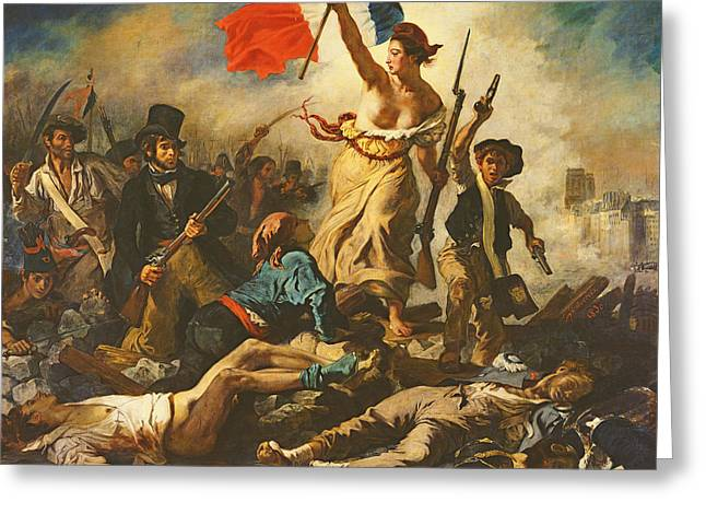 Liberty Leading The People, 28 July 1830 Greeting Card by Ferdinand Victor Eugene Delacroix
