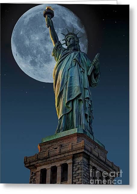 Liberty Moon Greeting Card by Steve Purnell