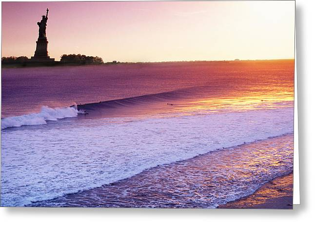 Liberty Surf Greeting Card by Sean Davey