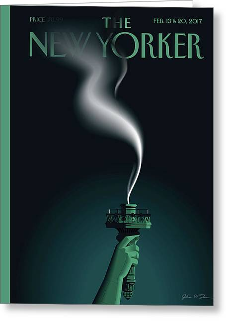 Liberty's Flameout Greeting Card by John W. Toma