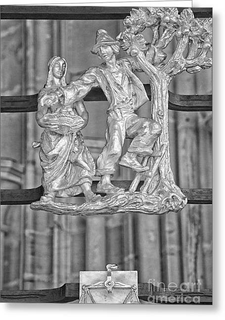 Libra Zodiac Sign - St Vitus Cathedral - Prague - Black And Whit Greeting Card by Ian Monk